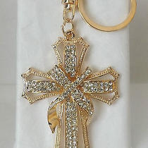 Purse Charm or Keyring - Cross With Clear Swarovski Crystals - Alloy Photo