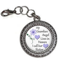 Purse Charm Zipper Pull Sister My Guardian Angel in Heaven Antique Silver Charm Photo