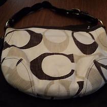 Purse Handbag Shoulder Coach With Dustbag Brown Tan Cream Textured Euc (Ac-6) Photo