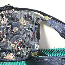 Purse Levis Blue Print Velcro Close Small Messenger19