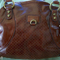 Purse Nine West Brown Dark Cognac Animal Print Lining Bag Tote Hobo Shoulder  Photo