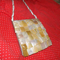 Purse Shell Mother of Pearl Look  7x7 Silver Beading 21.5in Beading  Photo