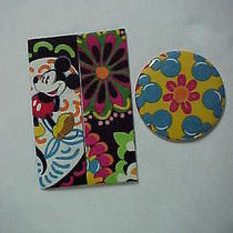 Purse Tissue Holder & Mirror Set M/w Vera Bradley Disney Midnight With Mickey Photo