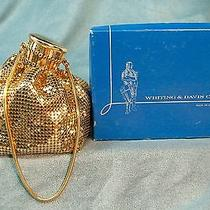 Purse Whiting & Davis Gold Tone Mesh Expandable Evening Wrist With Box Photo