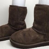 Q Womens Ugg Australia Winter Suede Dark Brown Boots Size 6 Photo