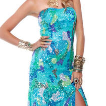 Q4128 Scala Prom Dress Price Match Guarantee Long Aqua Gown 0 2 4 6 8 10 12 14 Photo