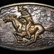 Qa01150 Vintage 1970s Pony Express Rider Old West Artwork Belt Buckle Photo