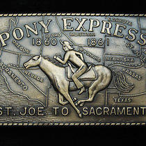 Qa01151 Vintage 1970s Pony Express St. Joe to Sacramento Belt Buckle Photo