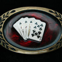 Ql09101 Vintage 1970s Royal Flush Poker Hand Gambling Solid Brass Belt Buckle Photo