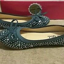 Qq Girls Blue Balet Flats W/rhinestones & Bow Detail Excellent Conditionsz 3 Photo