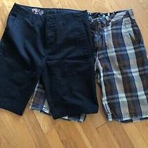 Qty-2 Lot Volcom Men's Size 30 Black Element Plaid Class Shorts Photo