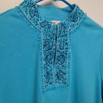 Quacker Factory Aqua Long Sleeve Tunic Beautiful Beading Size M Photo