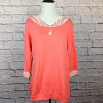 Quacker Factory Top Women Medium Coral Blush Red Anchor Nautical   Photo