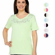 Quacker Factory v-Neck Sparkle and Shine T-Shirt Top Sz Xxs-3x 280488rm Photo