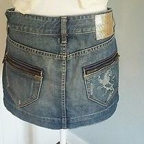 Quality Denim by Express Blue Jean Mini Skirt Size 4 Photo