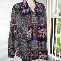 Quality Womans Christie & Jill Button Down Top Crinkle Blouse Patchwork  Sz L Photo