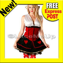 Queen of Hearts Costume Wonderland Fancy Dress Outfit Ladies Size Xxl 14-16 Photo