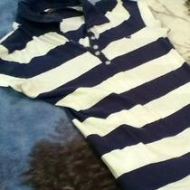 Quiksilver Roxy Womens Juniors Striped Short Sleeve Polo Shirt Size Medium Photo