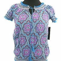 Quotation 100% Silk Bohemian Peasant Top Blouse Size Xs Photo