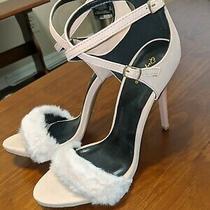 Qupid Blush Fluffy Stiletto Strap Heels Pre-Owned Photo