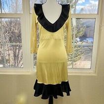 r.e.d. Valentino Gold and Black Ruffle Dress Size 46/ Large Photo