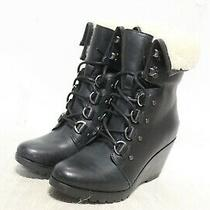 R4-83 Sorel After Hours Lace Shearling Black Women's Booties Sz 8.5 Photo