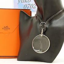 R57570 Auth Hermes Black Leather Loupe Magnifying Glass Necklace Silver Hardware Photo