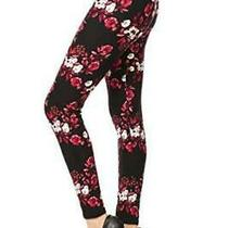 R593-Os Bloom Time Print Fashion Leggings Floral Grace Size One Size 0mis Photo