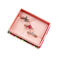 R96 Avon Cute Flower Silvertone 3 Toe Ring Set New With Original Box Photo