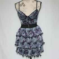 Rachael and Chloe Black With Lilac Flowers Dress Size M Nwot Photo