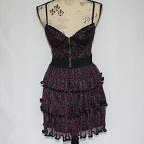 Rachael and Chloe Black With Red Flowers Dress Size M Nwot Photo