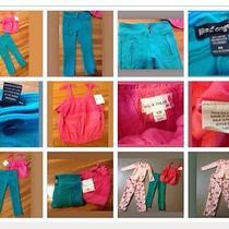 Rachel & Chloe Girls 6x Coral Pink Nwt Top Euc Aqua Jeggings / Pink Pjs Lot 4pc Photo