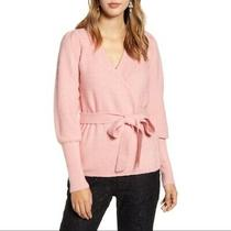 Rachel Parcell Wrap Sweater v Neck Belted Puff Sleeve Blush Pink Women L New 89 Photo