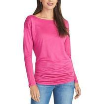 Rachel Rachel Roy Womens Chloe Pink Boat Neck Ruched Tee Top Shirt Xs  6990 Photo