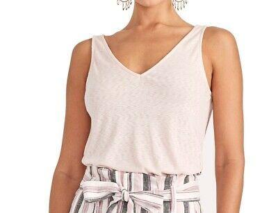Rachel Roy Women's Top Blush Pink Size XS Tank Double V Neck Knit $39 #298 Photo