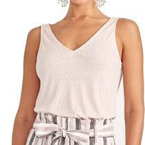 Rachel Roy Women Top Blush Pink Size Medium M Tank Double v Neck Knit 39 130 Photo