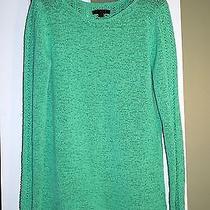 Rachel Zoe Apple Green Tape Yarn Open Weave Detail Tunic Sweater Sz S Small Photo