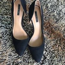 Rachel Zoe Black Suede Vanessa d'orsay Pumps With Gold Heel Details Size 11 Photo