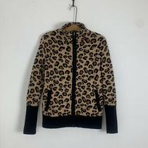 Rachel Zoe // Chic Leopard Print Cozy Knit Full Zip Animal Sweater Jacket / S Photo