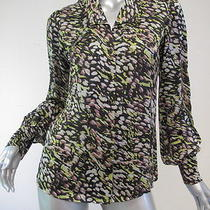 Rachel Zoe Dean Bishop Sleeve Blouse Black and Green Size 2 275 Gently Worn Photo