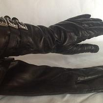 Rachel Zoe Leather Black Gloves With Buckles Size M Photo