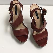 Rachel Zoe Slingback Wooden Perf. Brown Heels. Size Us 6.5. Excellent Cond. Photo