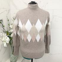 Rachel Zoe Sweater Mock Neck Argyle Pattern L Nwot Photo