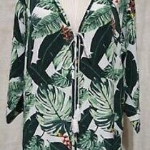 Rachel Zoe Tropical/palm Print Kimono Robe Cover Up O/s Photo