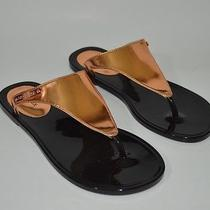 Rachel Zoe Women's Jelly Nickel Metallic Thong Sandals Size 6 M Photo
