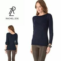 Rachel Zoe Womens S Navy Blue Karla Sweater  Open Weave Back Top Stretch  Photo