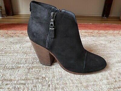 Rag & Bone Black Margot Suede Booties Ankle Side Zip Booties Size  38, ~7.5US Photo