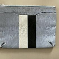 Rag & Bone Blue Striped Leather Zip Clutch Photo