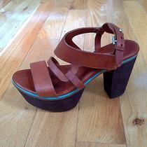 Rag & Bone Brown Leather Platform Heels Size 7 Like New Photo