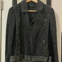 Rag & Bone Jacket Hart Asymmetrical Zip Moto Sweater Knit Black Size Small (S) Photo